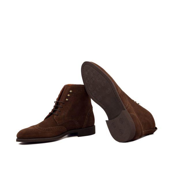 Bota wingtip en ante marrón chocolate