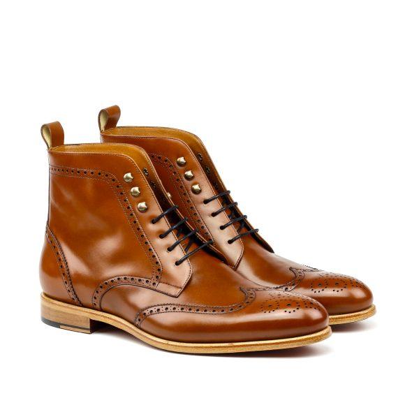 Bota para hombre wingtip en boxcalf marrón cognac