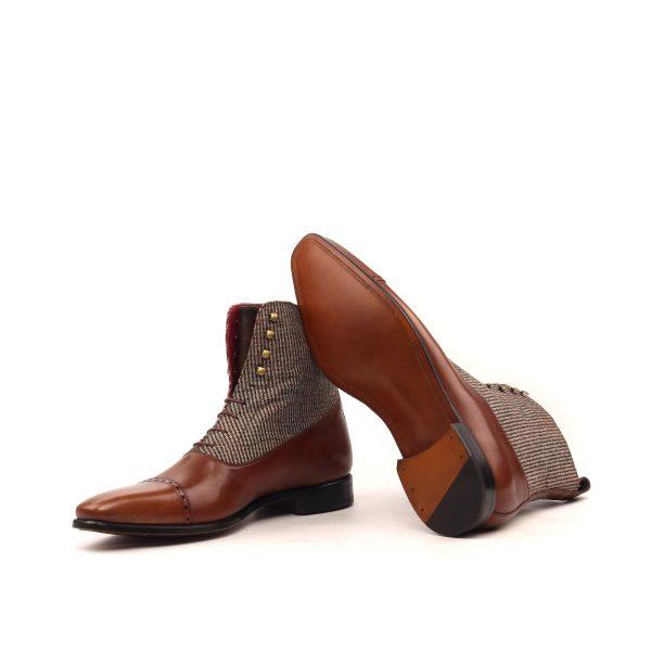Bota artesanal Balmoral en tweed marrón y boxcalf marrón pintado a mano
