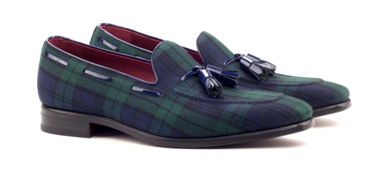 Tassel loafer para hombre en blackwatch y charol azul_1-6