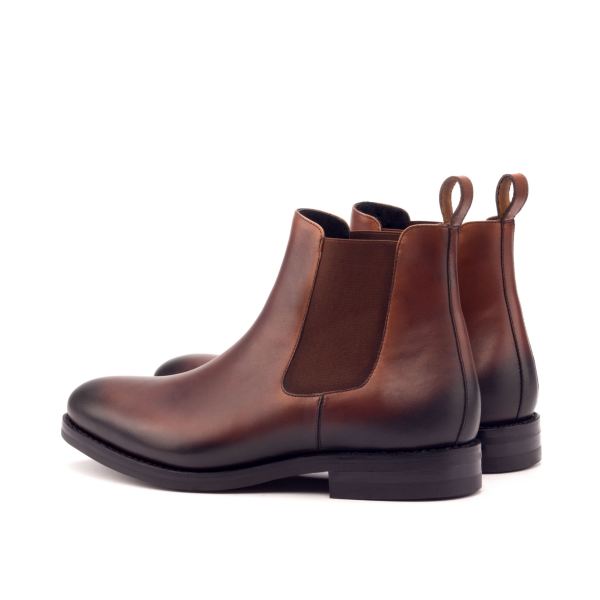 Chelsea Boot Goodyear Welted. Light Burnishin- Painted Calf Med Brown
