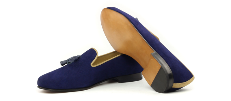 bespoke blue suede slippers for men cambrillon