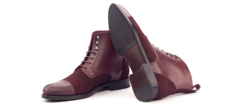 Bota cap toe personalizada para mujer en ante y box calf burdeos Cambrillon