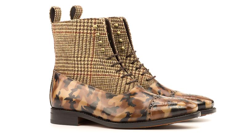 Balmoral Boot Goodyear Welted - Patina Medium - Crust Patina Camo-Wool Tweed Brown