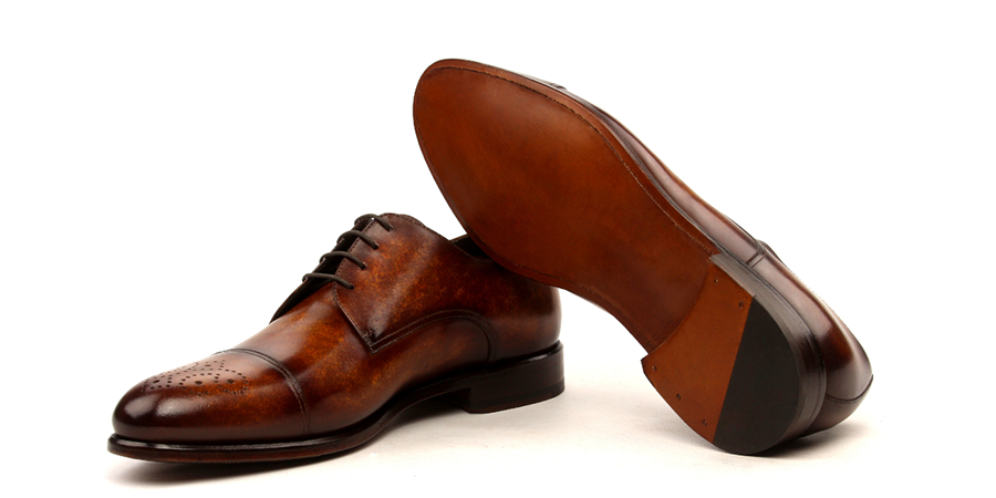 derby cognac hand painted patina