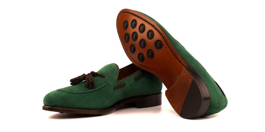 loafer tassels kid suede forest