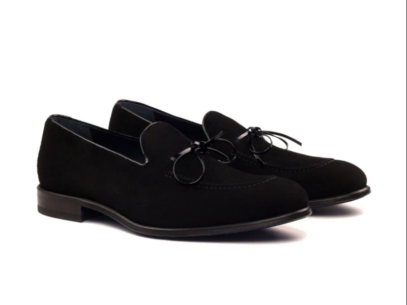 Loafer para hombre en ante negro Goodyear welted Cambrillon