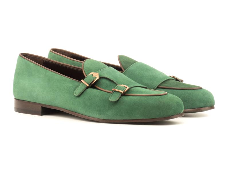 Monk Slipper para hombre en ante verde Cambrillon