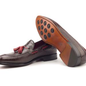 Tassel Loafer para hombre croco marrón