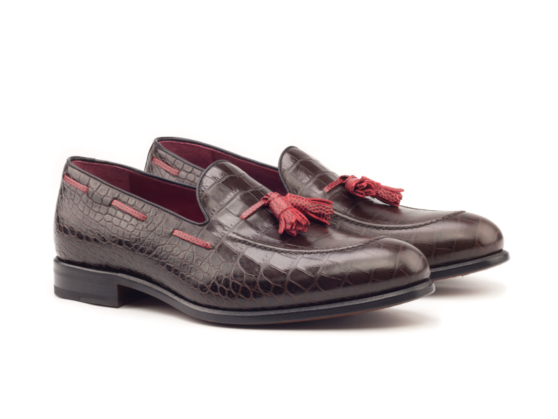 Tassel loafer para hombre croco marron Goodyear welted Cambrillon