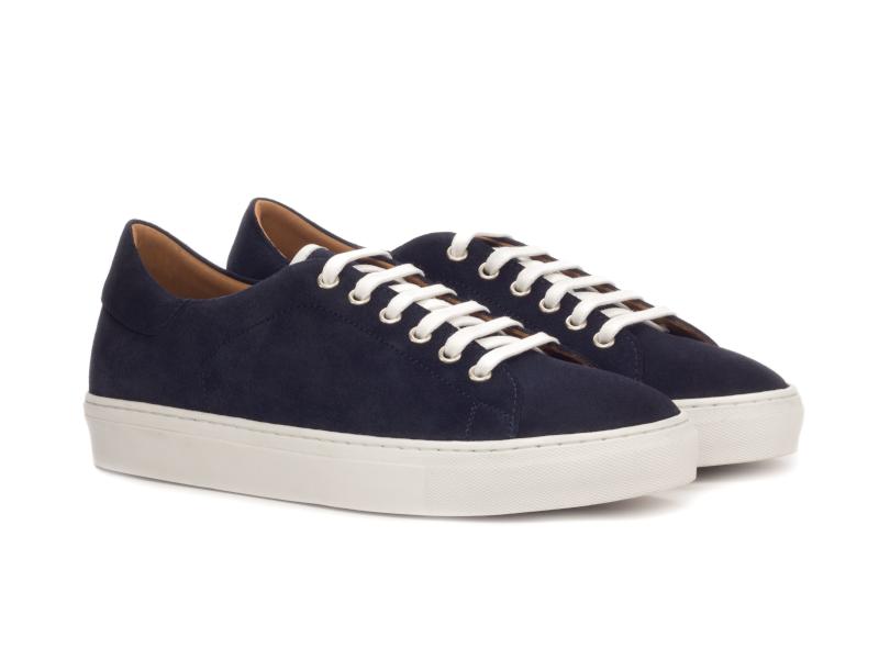Trainer Sneaker en ante azul marino Cambrillon