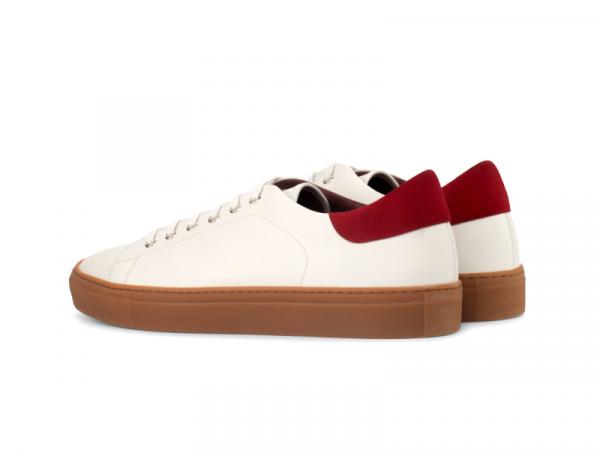 Trainer Sneaker en box calf blanco y ante rojo Cambrillon 2