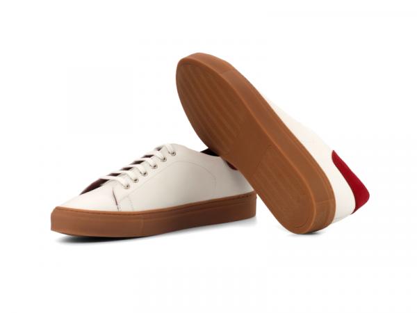 Trainer Sneaker en box calf blanco y ante rojo Cambrillon 3