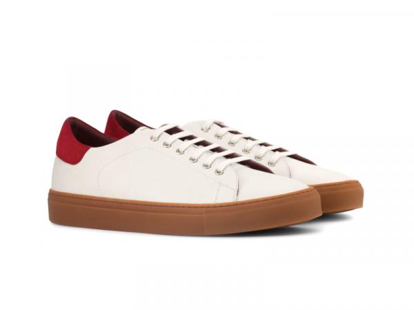 Trainer Sneaker en box calf blanco y ante rojo Cambrillon
