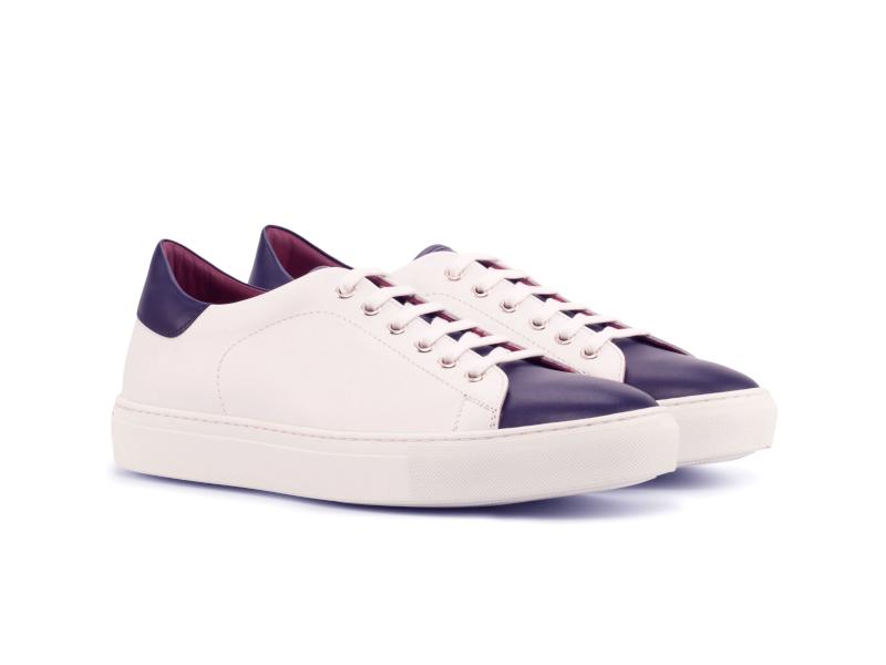 Trainer Sneaker en box calf blanco y azul Cambrillon