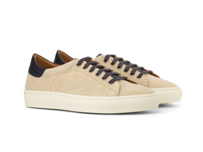 Trainer Sneaker en lino beige y ante azul Cambrillon